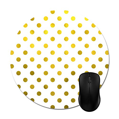 """Modern Gold Leaf Metallic Faux Foil Small Polka Dot White Mouse Pad 8"""" - Office Gaming Desktop Accessory"""