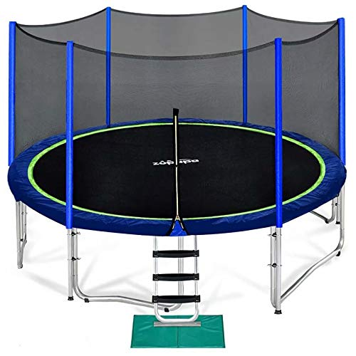 Zupapa 15 14 12 10 FT Kids Trampoline with Enclosure net, Ladder Safety Pad Jumping Mat Spring Pull...