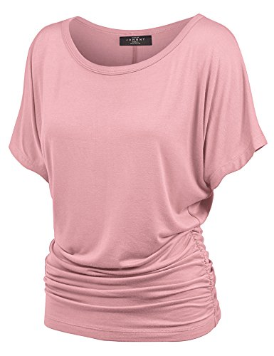 Made By Johnny MBJ WT817 Womens Dolman Drape Top with Side Shirring L Pink
