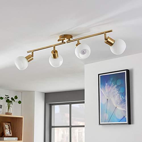 Lindby LED Deckenleuchte 'Elaina' in Gold/Messing aus Metall u.a. für Wohnzimmer & Esszimmer (4 flammig, E14, A+, inkl. Leuchtmittel) - Lampe, LED-Deckenlampe, Deckenlampe, Wohnzimmerlampe