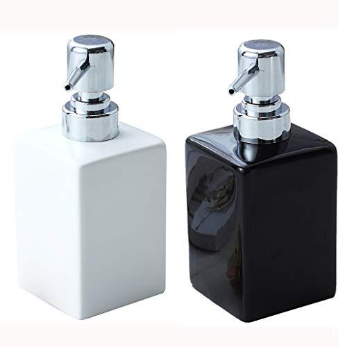 10,8 Oz Distributeur de Savon Bouteille en Verre étanche Pompe Rechargeables Une Pression Distributeur de Savon for Salle de Bains Cuisine Countertop (Color : Black+White)