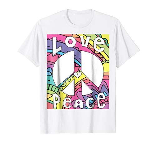 PEACE SIGN LOVE T Shirt 60s 70s Tie Dye Hippie Costume Shirt