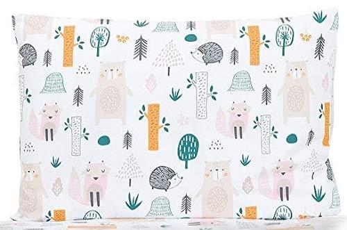 BALBINA Kinder Kopfkissenbezug Kissenhülle Baumwolle Deko Muster (Waldtiere, 40x60 cm)