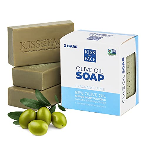Kiss My Face 3 Pack Pure Olive Oil Vegan Bar Soap for Men and Women - Only 3 ingredient and non-GMO Soap Bars for Face, Hands, and Body (Three 4oz Bars - 12oz total)