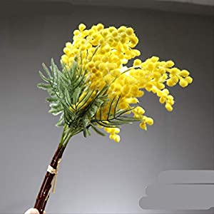 whbage Flores secas 5 Piezas de Felpa Acacia Amarillo Mimosa Spray Cherry Artificial Wedding Flower Party Event Decor