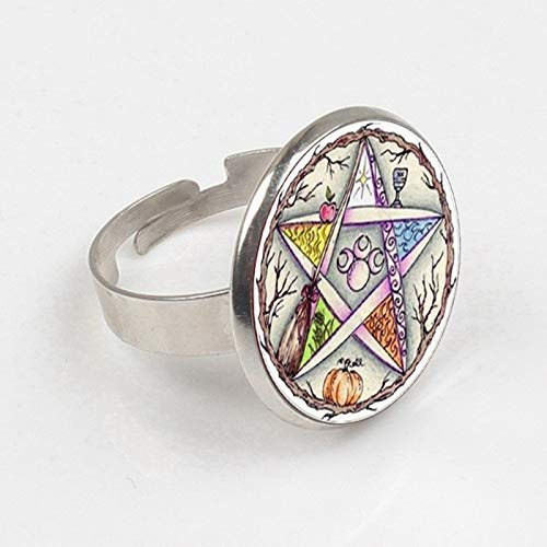 Anillo esotérico de pentagrama de cristal con forma de cúpula de cristal para...
