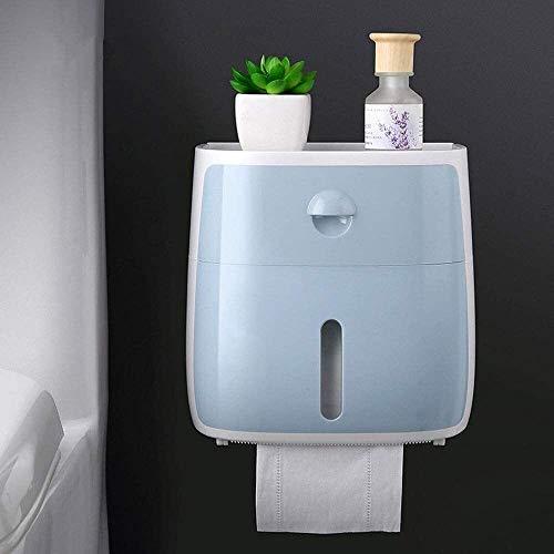 WLA Caja de pañuelos de pared de plástico, soporte para papel higiénico de baño, soporte para rollos de papel higiénico adhesivo multifunción (color: azul) (color: azul)