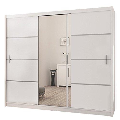Mirjan24 Kleiderschrank Rapid, Schwebetürenschrank mit Spiegel, Schiebetür, Elegantes Schlafzimmerschrank, Schlafzimmer, Jugendzimmer (Weiß/Spiegel, 250 cm)