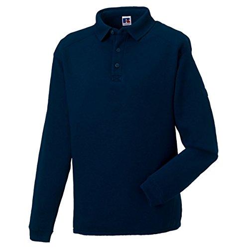 Russell Mens Polo Sweatshirt Brushed Fleece Heavy Duty Workwear Warm Cotton Rich Navy L