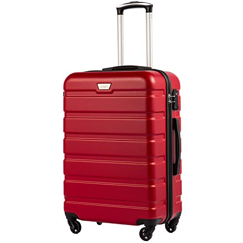COOLIFE Suitcase Trolley Carry On Hand Cabin Luggage Hard Shell Travel Bag Lightweight 2 Year Warranty Durable 4 Spinner Wheels(Red, M(65cm 60L))
