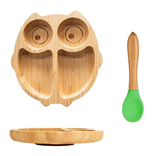 Vajillas Juego de platos de Bambú para niños incluye un plato con ventosa y cubierto silicona para bebé sin BPA (forma de búho)
