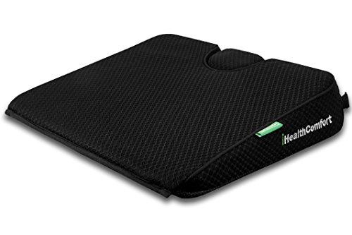 iHealthComfort Portable Wedge Seat Cushion Orthopedic Memory Foam Wellness Cushion (16x13.7)