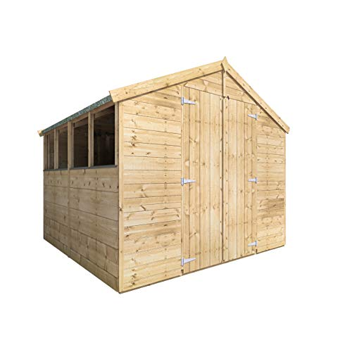 BillyOh Master Tongue and Groove Apex Shed | Pressure Treated Wooden Garden Shed with Floor and Roof Included | Windowed Storage Unit - 4 Sizes (8x8)