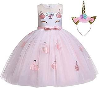 3-10 Y Girls Unicorn Dress Flower Girl Princess Birthday Dresses with Headband