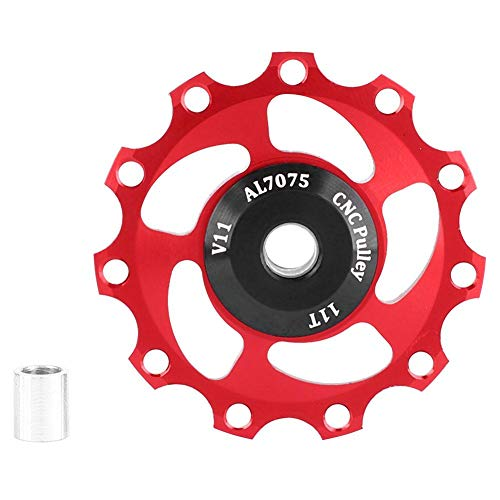 Wilecolly Bike Rear Derailleur Pulley, GUB Lightweight 11T Mountain Bike Bicycle Rear Derailleur Pulley Guide Wheel Bicycle Accessories(Red)