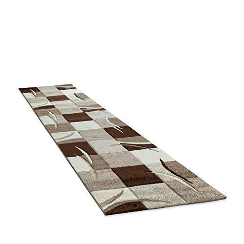 Amazon Brand - Umi Tapis De Salon De Chambre Poil Ras Court Motif Geometrique Marbre Carreaux Moderne Décoration, Couleur:Marron, Dimension:80x300 cm