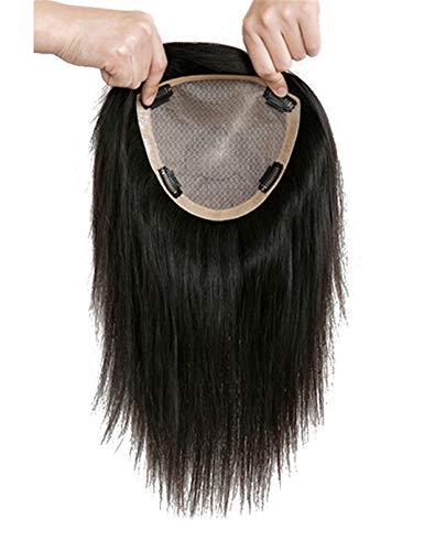 Susanki 100 % Echthaar-Kronenaufsatz, Haarteile für Frauen mit dünner werdendem Haar, 15,2 x 17 cm, Seiden-Top-Haar-Topper, mit Clip, 25,4 cm, Dunkelbraun
