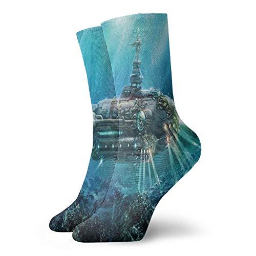 Calcetines suaves de media pantorrilla, inspirados en la ciencia ficción, ilustración digital submarina futurista, calcetines para mujeres y hombres, ideales para correr