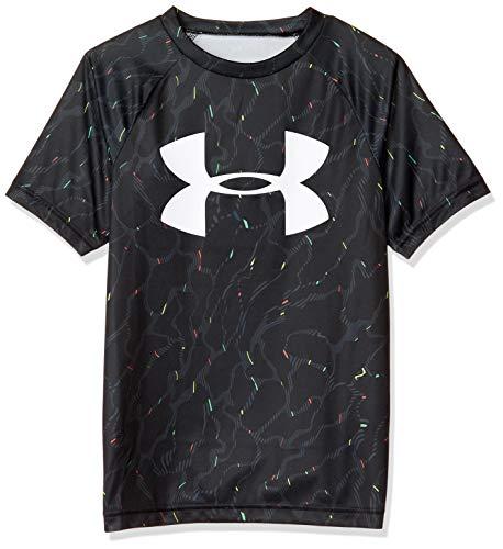 Under Armour Boys' Tech Big Logo Printed Short Sleeve Gym T-Shirt, Black (001)/White, Youth Medium