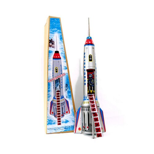 Alexander Taron Importer Friction Driven Tin Rocket Ship Collectible