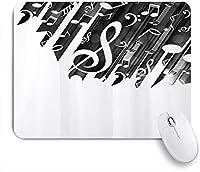 NIESIKKLAマウスパッド シンプルなデザイン音楽ノート音楽テーマブラックホワイト ゲーミング オフィス最適 高級感 おしゃれ 防水 耐久性が良い 滑り止めゴム底 ゲーミングなど適用 用ノートブックコンピュータマウスマット