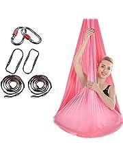 DYJD 18 färger antenn yoga hammock antenn silke yoga gunga ultrastark antigravitation yoga hammock förbättrad flexibilitet och kärnstyrka, rosa