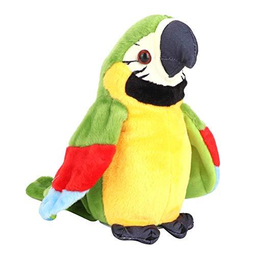 Forma di Pappagallo Parlando Giocattolo Giocattolo della Bambola della Peluche Giocattoli per Animali Domestici di Mimetismo Educazione Precoce Giocattolo Cognitivo Regalo per Bambini (Verde)