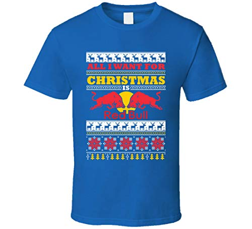 N/Y All I Want for Christmas is Redbull Energy Drink Brand Logo Ugly Holiday Maglione regalo t-shirt blu reale Nero XXL