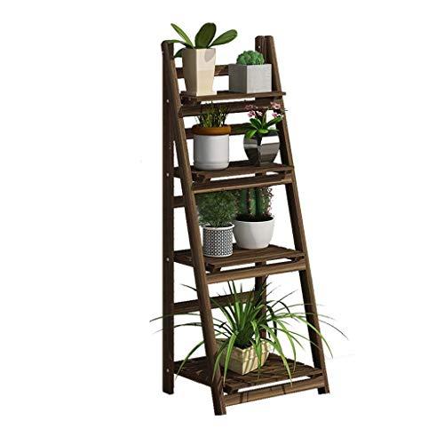 Flower standMulti-tier Folding Plant Stand Shelves Garden Wooden Flower Pot Display Rack Ladder for Indoor Outdoor Dector (Size : 4-Tier)