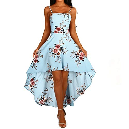 Robe Femme Ete Courte Grande Taille Tunique Femmes Spaghetti Strap Mini Swing Skater Robes Backless sans Manches High Low Cocktail Party Dress Clubwear