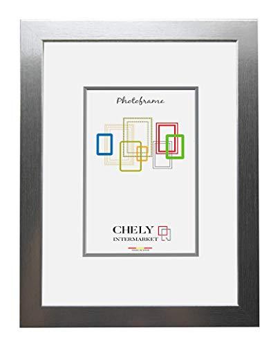 Chely Intermarket, Marco de Fotos de Madera 70x100 cm (Plateado) MOD-272| Estilo galería | Marco de Madera de Pino para Decoración de Casa | Fotografías de Boda | moldura con Relieve