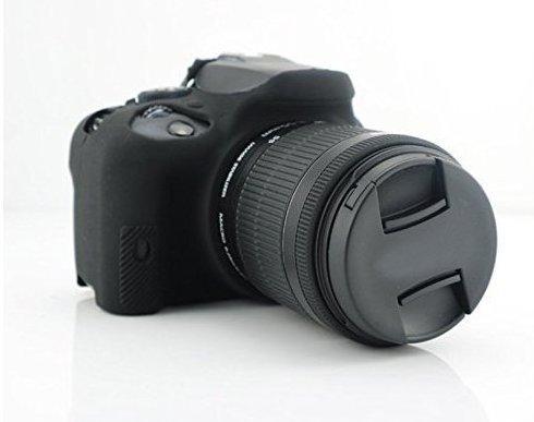 Hihouse Funda de Cámara Deportivas Caja de Protección de Silicona Suave Para Canon EOS 100D (negro)