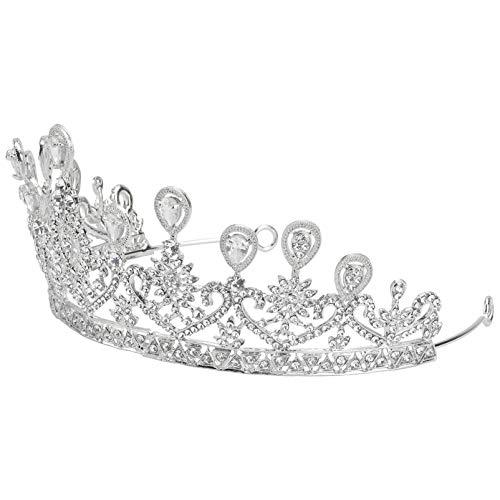 VALICLUD Strass Kristall Krone Brautkrone Hochzeit Tiara Haarschmuck für Hochzeitswettbewerb Geburtstag Abschlussball (Silber)