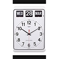 twemco Homeloo German Quartz Retro Modern Calendar Wall Flip Clock BQ12A (Black)