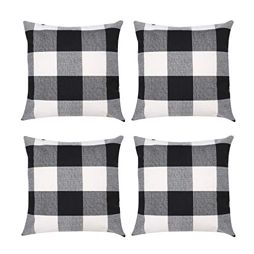 ZhangShi Set of 4 Buffalo Check Plaid Throw Pillow Covers Black and White, 18 x 18 Inch Farmhouse Decorative Square Pillow Cushion Cover Case for Home Sofa Bedroom Car Decor