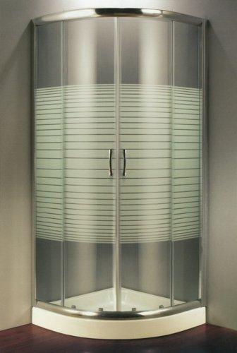 Douchecabine van gehard kristalglas, zeefdruk, 6 mm, halfrond, schuifopening - 90 x 90 cm, hoogte 190 cm