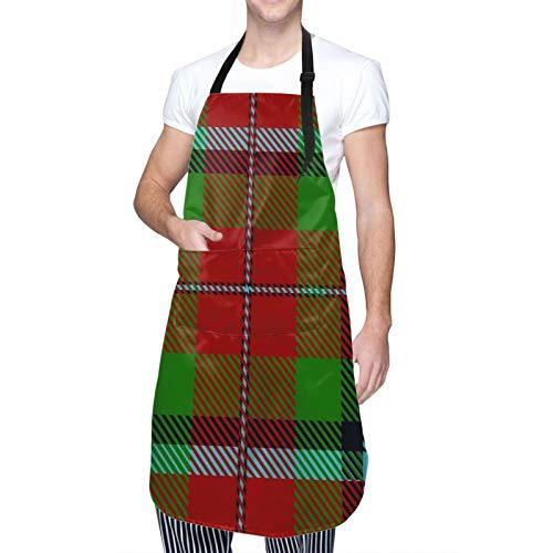 QINCO Ajustable Cou Suspendu Personnalisé Tablier Imperméable,Ecosse Clan écossais Macnachtan Tartan Plaid Macnaughton,Bavoir de Cuisine...