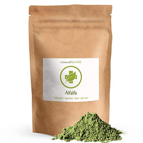Alfalfa Pulver - 100 g - Superfood - 100% vegan & pur - Rohkost-Qualität - Produktionsfrische Ware - Laktosefrei - OHNE Hilfs- u. Zusatzstoffe
