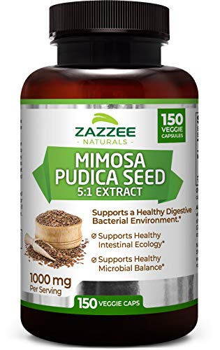 Zazzee Mimosa Pudica Seed Extract, 150 Veggie Caps, 100% Pure, 1000 mg Per Serving, Potent 5:1 Extract, 5,000 mg Strength, Vegan, Non-GMO and All-Natural