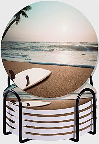 CIKYOWAY Posavasos para Bebidas,Tabla de Surf en Playa Tropical al Atardecer en Verano Juego de 6 Posavasos absorbentes con Soporte de Metal/Fondo de Corcho,para Casa Restaurante Y Bar