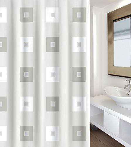 """MSV Premium 142104 Anti-Schimmel Textil Duschvorhang - Anti-Bakteriell, waschbar, 100prozent wasserdicht, mit 12 Duschvorhangringen - Polyester, """"Blocks"""" 180x200cm – Made in Spain"""