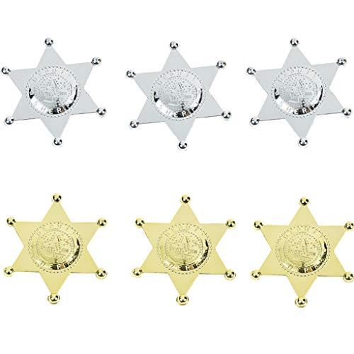 Elfen und Zwerge - Sheriffstern - Anstecknadel Deputy - Silber & Gold - für Kinder & Erwachsene - Kostümzubehör - 6 Stück