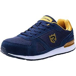 41NOuo7oBtL. SS300  - LARNMERN Zapatos de Seguridad Hombre Gamuza Suave S1 SRC Antideslizante Punta de Acero Zapatillas Ligeros y Cómodos