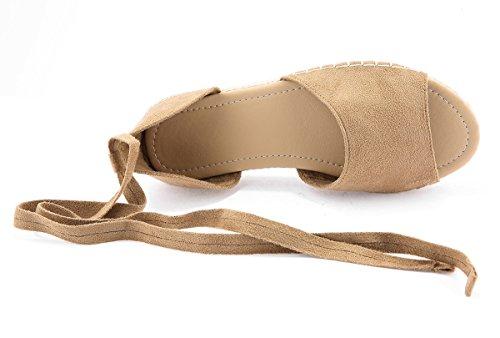Fashare Womens Espadrilles Tie up Flat Sandals Peep Toe Classic Cutout D'Orsay Dress Shoes Khaki
