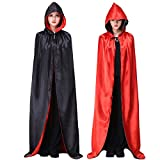 Myir Reversible Capa Negro Rojo con Capucha Adulto Niño Niña, Unisex Disfraces Disfraz de Halloween Hombre Mujer Brujo Bruja Vampira (L)