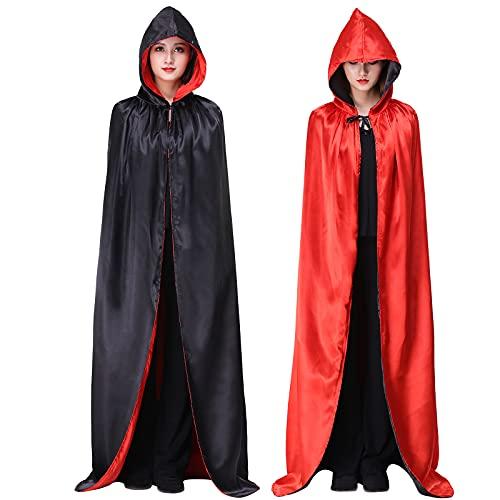 Myir Reversible Capa Negro Rojo con Capucha Adulto Niño Niña, Unisex Disfraces Disfraz de Halloween Hombre Mujer Brujo Bruja Vampira (XL)
