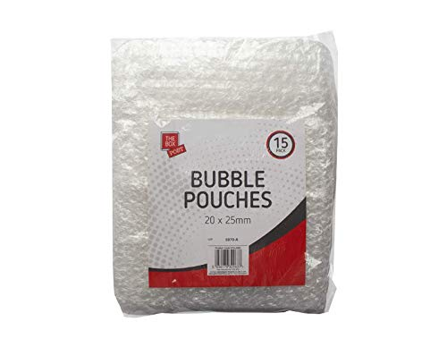 The Box Post, Bubble Wrap - Clear Packaging Bags - Bubble Pouches Packing Solution, 20mm x 25mm (15-Pack)