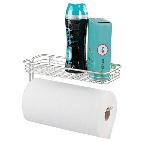 mDesign Küchenrollenhalter mit Ablage - Halter für Papierrollen und kleine Gegenstände - für Küche, Garage oder Büro - wandmontierter Küchenpapierrollenhalter - Farbe: Silber