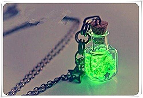 Collar de botella que brilla en la oscuridad. Colgante brillante, collar de botella de vidrio con luz de estrella.