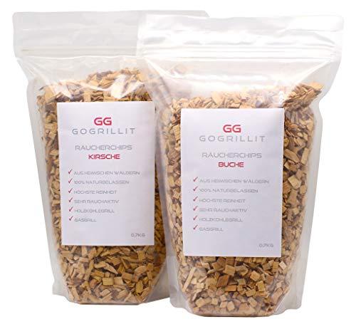 GOGRILLIT Räucherchips Set - Smoker Chips/Räucherchips für Gasgrill, Holzkohlegrill, Smoker und Räucherofen geeignet - 100{fab1b31b97e8868e7469f6ad7ed5afb9025610b34d2e0e1a22eb37da99c0af1d} natürlich aus heimischen Wäldern (Kirsche und Buche je 700g)